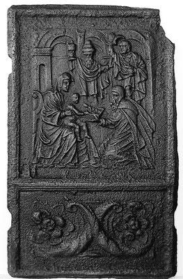 Inv.-Nr. 203   Die Anbetung der Könige, Ofenplatte 43 x 72 cm, Eisenschmitt/Weilerbach (?), ab 1683