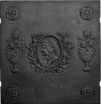 Inv.-Nr. 364   Porträit  Kaminplatte, 75 x 76 cm, Elsaß, dat. 1875