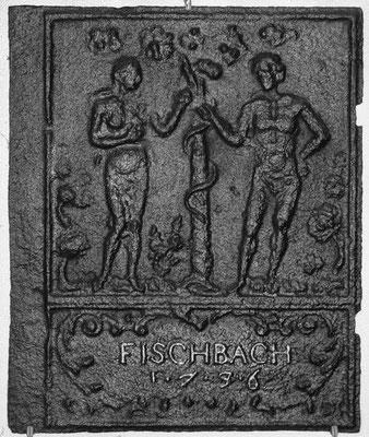 Inv.-Nr. 146   Adam und Eva, Ofenplatte 46 x 55 cm, Fischbach, dat. 1736