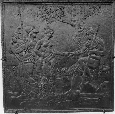 nv.-Nr. 314   Das Urteil des Paris, Kaminplatte 98 x 98 cm, Lothringen, 18. Jh.