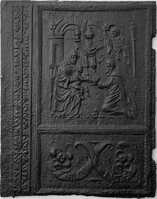 Inv.-Nr. 201   Die Anbetung der Könige Ofenplatte 57 x 71 cm, Quint, ab 1683