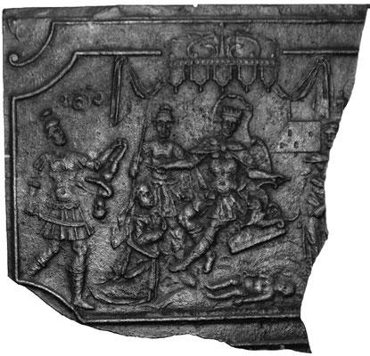 Inv.-Nr. 181   Das Urteil Salomons, Kaminplatte, Fragment 80 x 77 cm, Saarland/Lothringen, 2.H. 18. Jh.