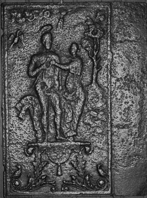 Inv.-Nr. 300   Hektors Abschied von Adromache, Ofenplatte  53 x 70 cm, Saarland, 1. H. 18. Jh.