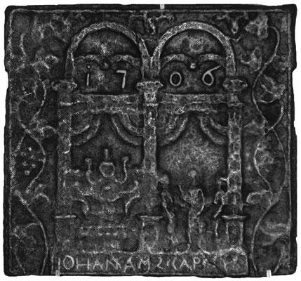 Inv.-Nr. 224   Hochzeit zu Kana, Ofenplatte 46 x 43 cm, Saarland (?), 1. H. d. 18. Jh (Fragment)