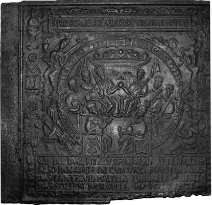 Inv.-Nr. 392    Kaiserwahl Rudolf II., Ofenplatte 99 x 90 cm, Elsaß/Pfalz, dat. 1599