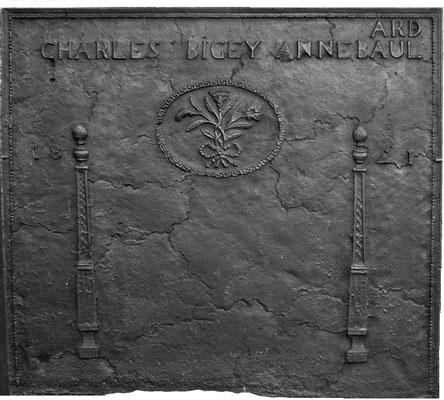 Inv.-Nr. 277   Hochzeitsplatte  Kaminplatte, 100 x 90 cm, Lothringen, dat. 1841
