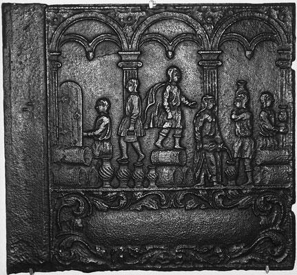 Inv.-Nr. 190   Das Ölwunder des Elisäus, Ofenplatte 66 x 61 cm, Altleiningen, 1. H. 18. Jh.