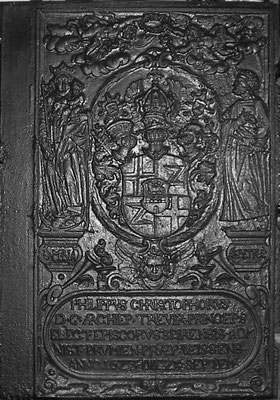 Inv.-Nr. 23   Wappen Kurfürst Philipp Christoph von Sötern, Ofenplatte 82 x 117 cm, Hunsrück, dat. 1623