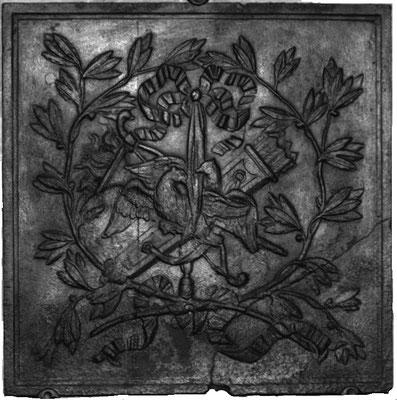 Inv.-Nr. 256   Allegorie der Liebe, Kaminplatte xx x xx cm, Saarland (?), Ende 18. Jh.