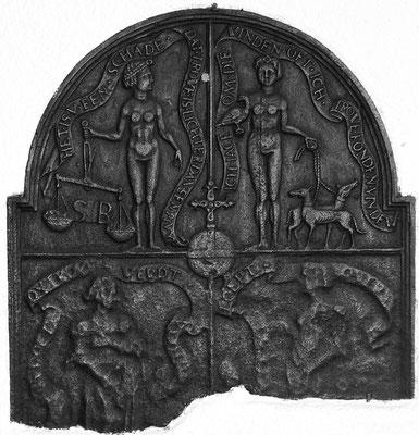 Inv,-Nr. 245   Allegorie von Treue und Untreue,  Kaminplatte 65 x 70 cm, Südeifel (?), um 1600
