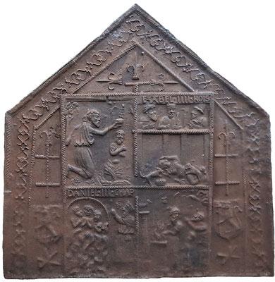 Inv.-Nr. 384  Wappen de Florainville,  Kaminplatte 100 x 110 cm, Cousance, 1. H. 16. Jh.