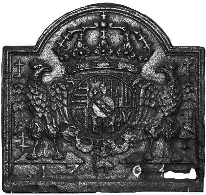 Inv.-Nr. 77   Wappen Herzogtum Lothringen (Leopold I.),  Kaminplatte 650 x 50 cm, Lothringen, dat. 1704
