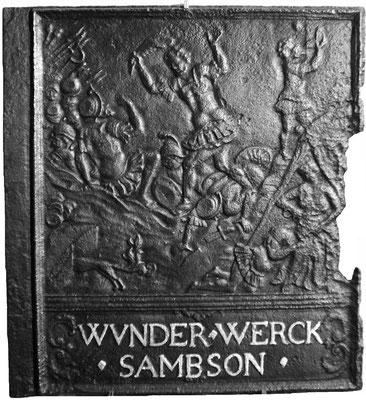 Inv.-Nr. 169   Samsons Taten, Ofenplatte 61 x 67 cm, Saarland (?), 2. H. 17. Jh.