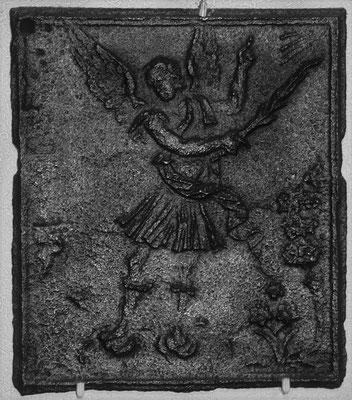 Inv.-Nr. 157   Vertreibung aus dem Paradies  Ofenplatte 35 x 35 cm, Saarland, 1, H. 18. Jh.