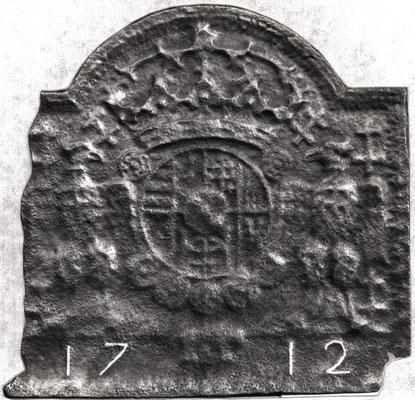 Inv.-Nr. 81   Wappen Herzogtum Lothringen (Lepold I.),  Kaminplatte 55 x 54 cm, Lothringen, dat. 1712
