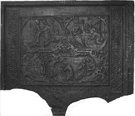 Inv.-Nr. 199   Aus dem Leben Jesu  Ofenplatte 106 x 92 cm, Saarland/Hunsrück, 16/17. Jh