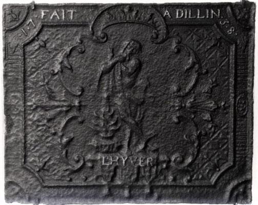 Inv.-Nr. 250   Allegorie des Winters, Kaminplatte 69 x 55 cm, Dillingen, dat. 1738