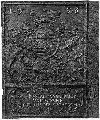 Nr. 65   Wappen Nassau #-Saarbrücken,  Ofenplatte, 55 x 68 cm Fischbach, dat. 1736