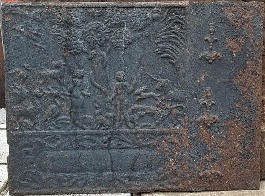 Inv.-Nr. 481  Adam und Eva, Ofenplatte, XX x XX cm, Altleiningen, 1. H. 18. Jh.