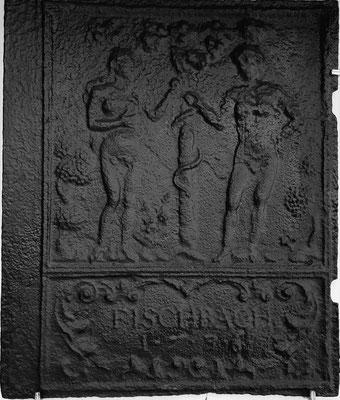 Inv.-Nr. 147   Adam und Eva, Ofenplatte 48 x 57 cm, Fischbach, dat. 1736