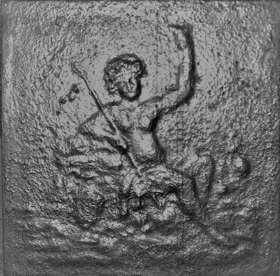 Inv.-Nr. 312   Poseidon, Kaminplatte 50 x 50 cm, Lothringen, 2. H. 18. Jh.