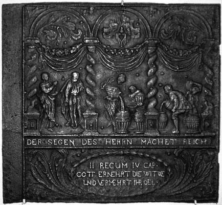 Inv.-Nr. 187   Das Ölwunder des Elisäus, Ofenplatte 75 x 68 cm, Lahngebiet (?), 2. H. 17. Jh.