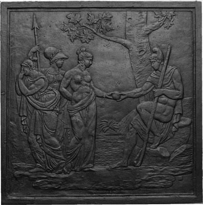 Inv.-Nr. 313   Das Urteil des Paris, Kaminplatte 99 x 100 cm, Lothringen, 18. Jh.