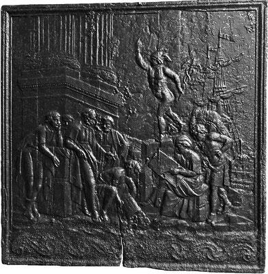 Inv.-Nr. 242   Allegorie des Handels, Kaminplatte 80 x 80 cm, Villerupt (?), Anfang 18. Jh.
