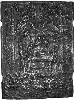 Inv.-Nr. 215   Hochzeit zu Kana, Ofenplatte 50 x 67 cm, Saarland, 1. H. 18. Jh.