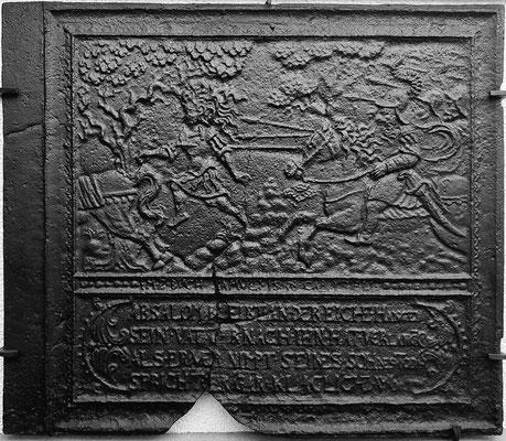 Inv.-Nr. 176   Der Tod des Absalom, Ofenplatte 94 x 82 cm, Lahngebiet, 2. H. 17. Jh.