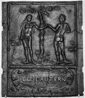 Inv.-Nr. 145   Adam und Eva, Ofenplatte 49 x 56 cm, Geislautern, 1. H. 18. Jh.