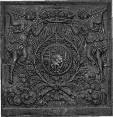 Inv.-Nr. 69   Wappen Herzogtum Lothringen (Leopold I.),  Kaminplatte 100 x 100 cm, Lothringen um 1700