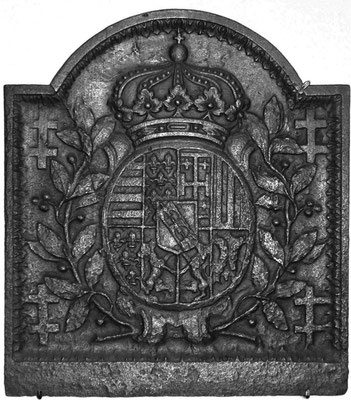 Inv.-Nr. 73   Wappen Herzogtum Lothringen (Leopold I.),  Kaminplatte, 60 x 65 cm, Lothringen, um 1700