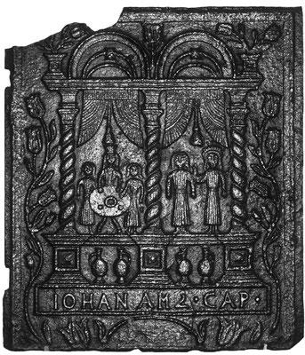 Inv.-Nr. 217   Hochzeit zu Kana, Ofenplatte 53 x 60 cm, Saarland, 1. H. 18. Jh