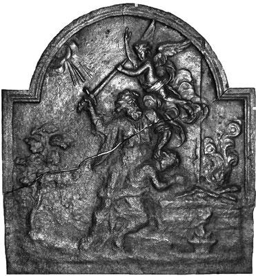 Inv.-Nr. 166   Opferung Isaaks, Kaminplatte, 60 x 65 cm, Lothringen, um 1700