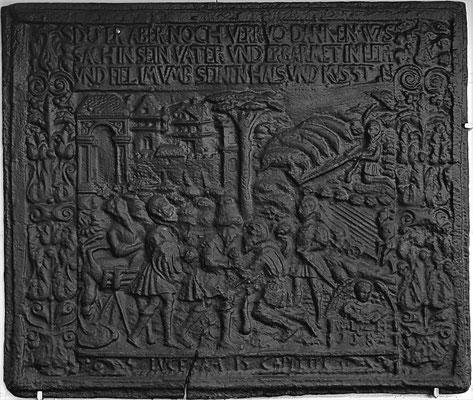 Inv.-Nr. 229   Der Verlorene Sohn, Kaminplatte 73 x 61 cm, Oberhessen, dat. 1584