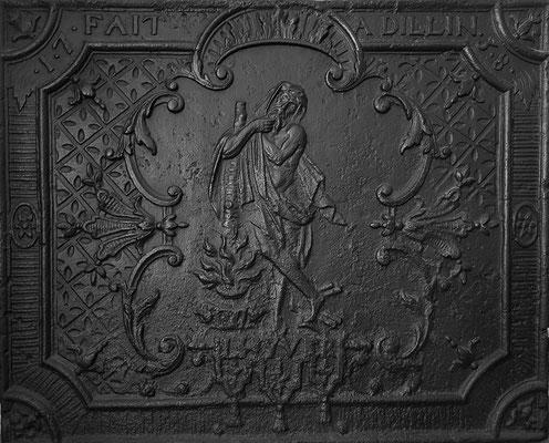 Inv.-Nr. 248   Allegorie des Winters, Kaminplatte 69 x 55 cm, Dillingen, dat. 1738
