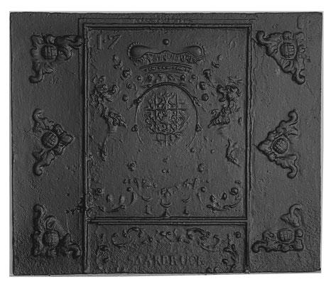 Inv.-Nr. 63   Wappen Nassau-Saarbrücken,  Kaminplatte 74 x 63 cm, Saarland, dat. 1736