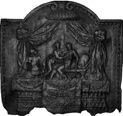 Inv.-Nr. 342   Heimkehr eines verwundeten Kriegers, Kaminplatte 80 x 74 cm, Lothringen, 1. H. 18. Jh.