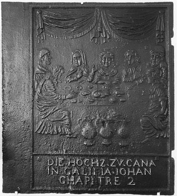 Inv.-Nr. 211   Hochzeit zu Kana, Ofenplatte 58x 65 cm, Quint (?), um 1700