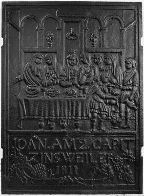 Inv.-Nr. 368   Hochzeit zu Kana, Ofenplatte 45 x 61 cm, Zinsweiler, dat. 1811