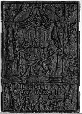 Inv.-Nr. 213   Hochzeit zu Kana, Ofenplatte 44 x 63 cm, Saarland, 1. H. 18. Jh.