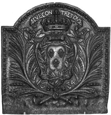 Inv.-Nr. 35   Wappen Frankreich (Ludwig XIV.), gegossen anlässlich des Sieges im Reunionskrieg gegen Spanien Kaiserreich,  Kaminplatte 61 x 64 cm, Lothringen, dat. 1684