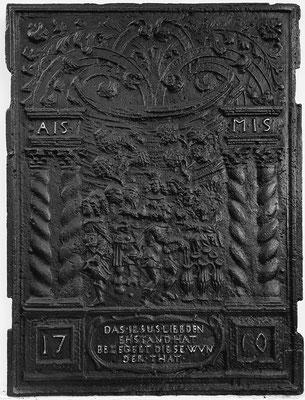 Inv.-Nr. 216   Hochzeit zu Kana, Ofenplatte 50 x 68 cm, Saarland, 1. H. 18. Jh.