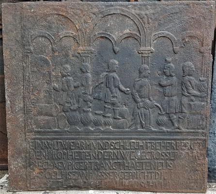 Inv.-Nr. 484   Das Ölwunder des Elisäus, Ofenplatte xx x xx cm, Südpfalz, 1. H. 18. Jh