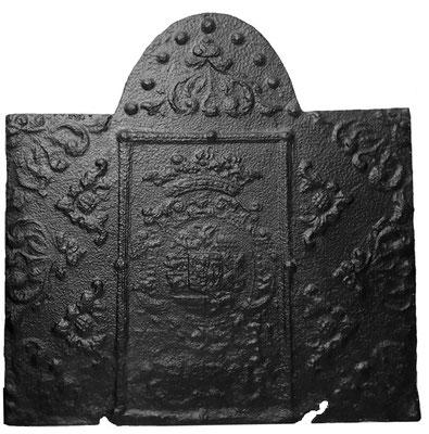 Inv.-Nr. 60   Wappen Nassau-Saarbrücken,  Kaminplatte 75 x 77 cm, Saarland, dat. 1731