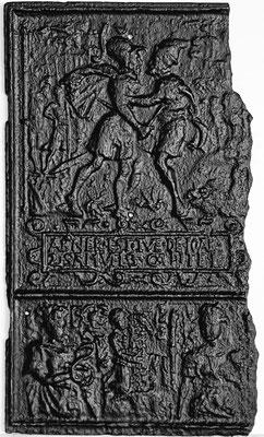 Inv.-Nr. 372   Joab tötet Abner, Ofenplatte xx x xx cm, Wallonie (?), 2.H. 17. Jh.