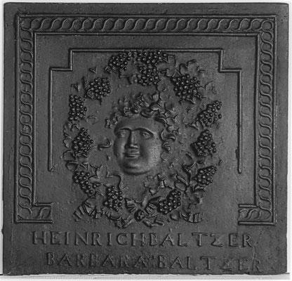 Inv.-Nr. 369   Hochzeitsplatte  Ofenplatte xx x xx cm, Elsaß, 19. Jh.