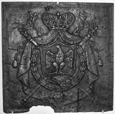 Inv.-Nr. 124   Wappen Französisches Kaiserreich, Kaminplatte 65 x 65 cm, Lothringen, 1804-1814
