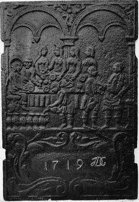 Inv.-Nr. 210   Hochzeit zu Kana  Ofenplatte 44 x 65 cm, Altleiningen, 1. H. 18. Jh
